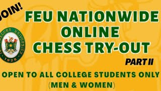 FEU Nationwide Online Chess Try-out