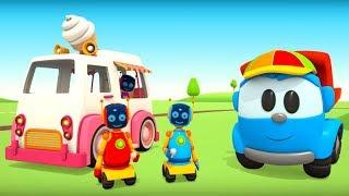 Zeichentrickfilm für Kinder. Leo baut einen Eiswagen.