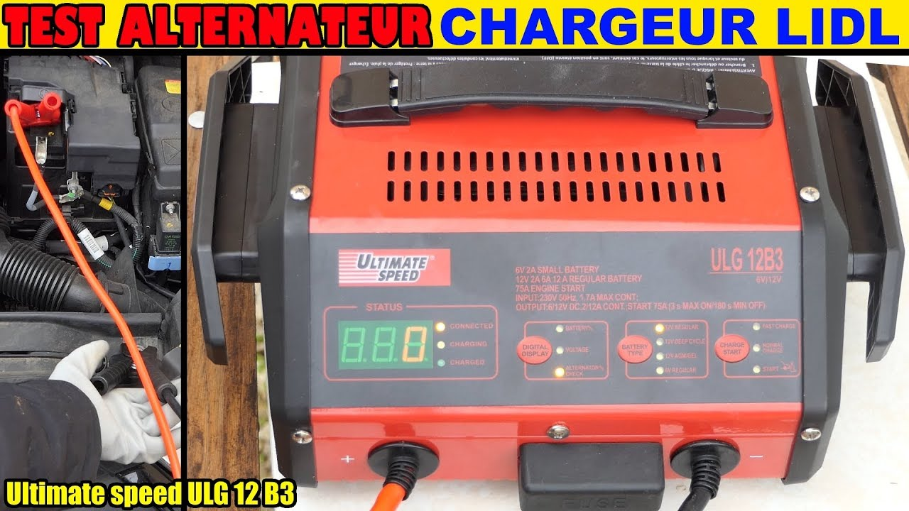 test alternateur voiture chargeur de batterie lidl utlimate speed ulg 12 b3 youtube. Black Bedroom Furniture Sets. Home Design Ideas