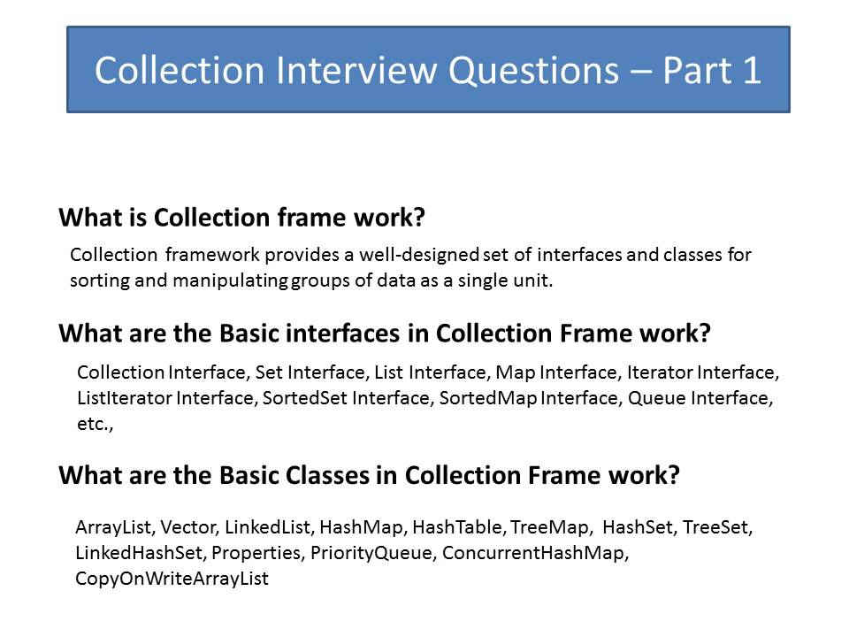 Beautiful Collection Interview Question Part 1. Java Interview Questions