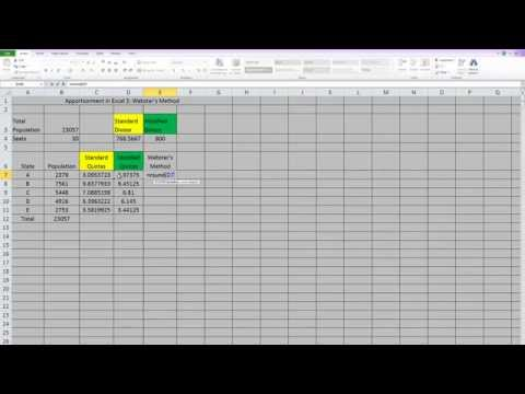 Apportionment in Excel 3: Webster