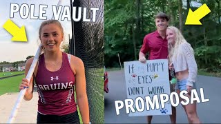 It FINALLY Happened! *BRENNAN&#39s Prom Date and KATIE  Pole Vaults at her First Meet In TWO Years*