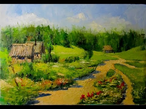 Countryside Landscape. Knife Painting, How To OIl Paint Village On Canvas by Sergey Gusev