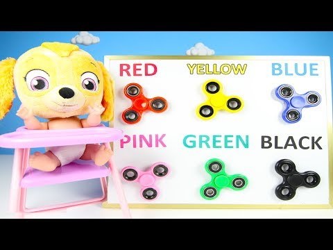Fidget Spinners Learning Colors With Paw Patrol Skye Classroom - Gumballs, Hatchimals Colleggtibles