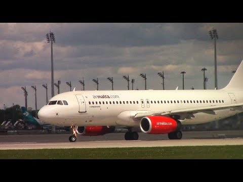 Air Malta a320 (9H-AHR) taxi+take off at Munich Airport!