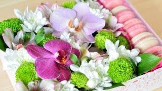 DIY: Коробочка с цветами и пирожными Macaron ☆ Подарки на 8 марта