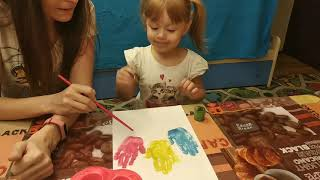 Рисунок ладошками. Рисунок красками. Рисуем гуашью.