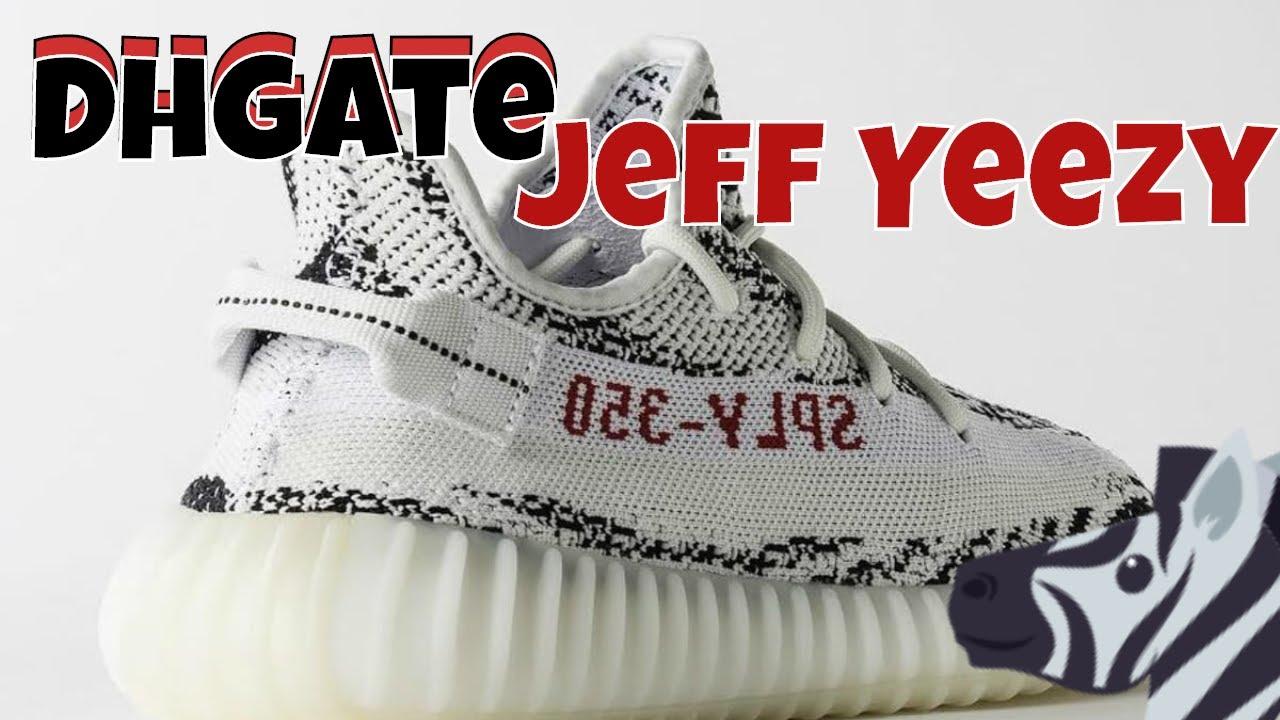 1d0ce655c38 Dhgate Jeff Yeezy X Yeezy Boost 350 v2 Zebra (REAL VS FAKE) - YouTube