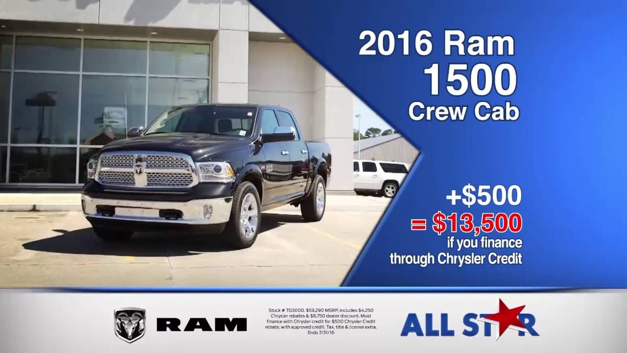 All Star Dodge Chrysler Jeep Ram July 2016 Commercial Summer Clearance Event