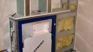 Zabudowa stelaża wc geberit, półki z regipsu w łazience
