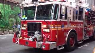 VIDEO BY POPULAR REQUEST OF FDNY ENGINE 54 USING 2 SIRENS WHILE RESPONDING IN TIMES SQUARE, NYC.