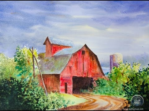 A Red Barn in Water Color