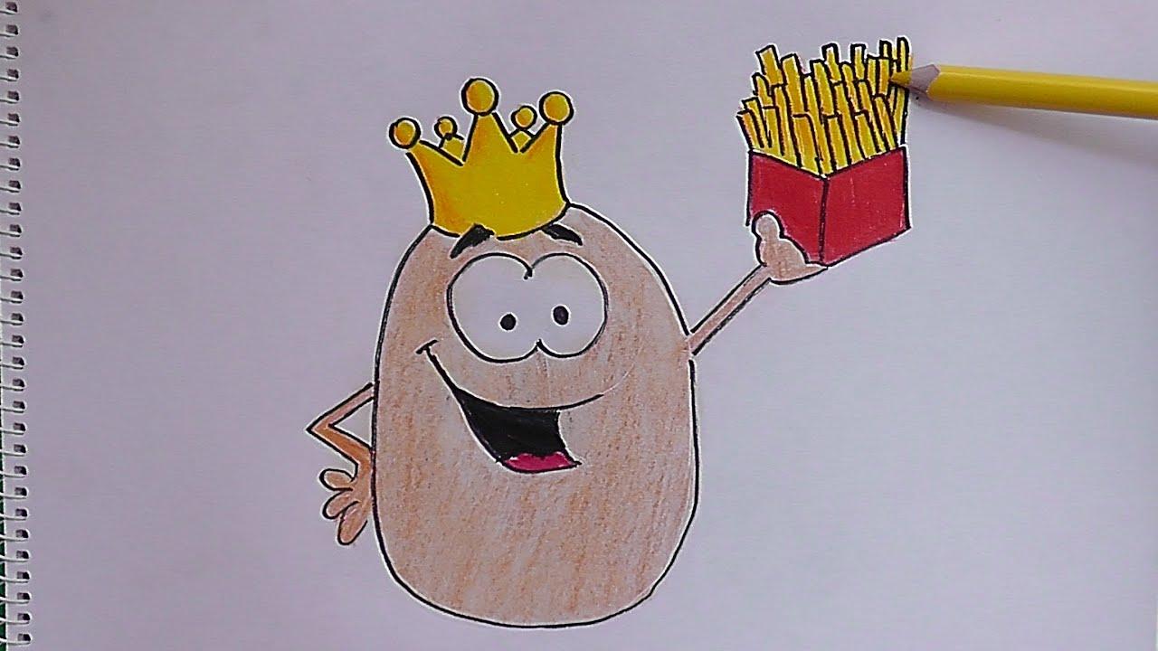 Dibujando Y Coloreando A Papa Con Corona