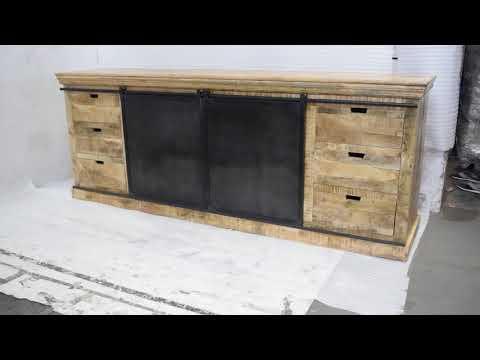 Solid Mango Wooden Side Board | Industrial Furniture | Industrial Design Living Room Cabinet |