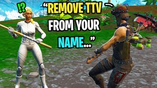 I paid a streamer to REMOVE TTV from his Fortnite name in my game... (emotional)