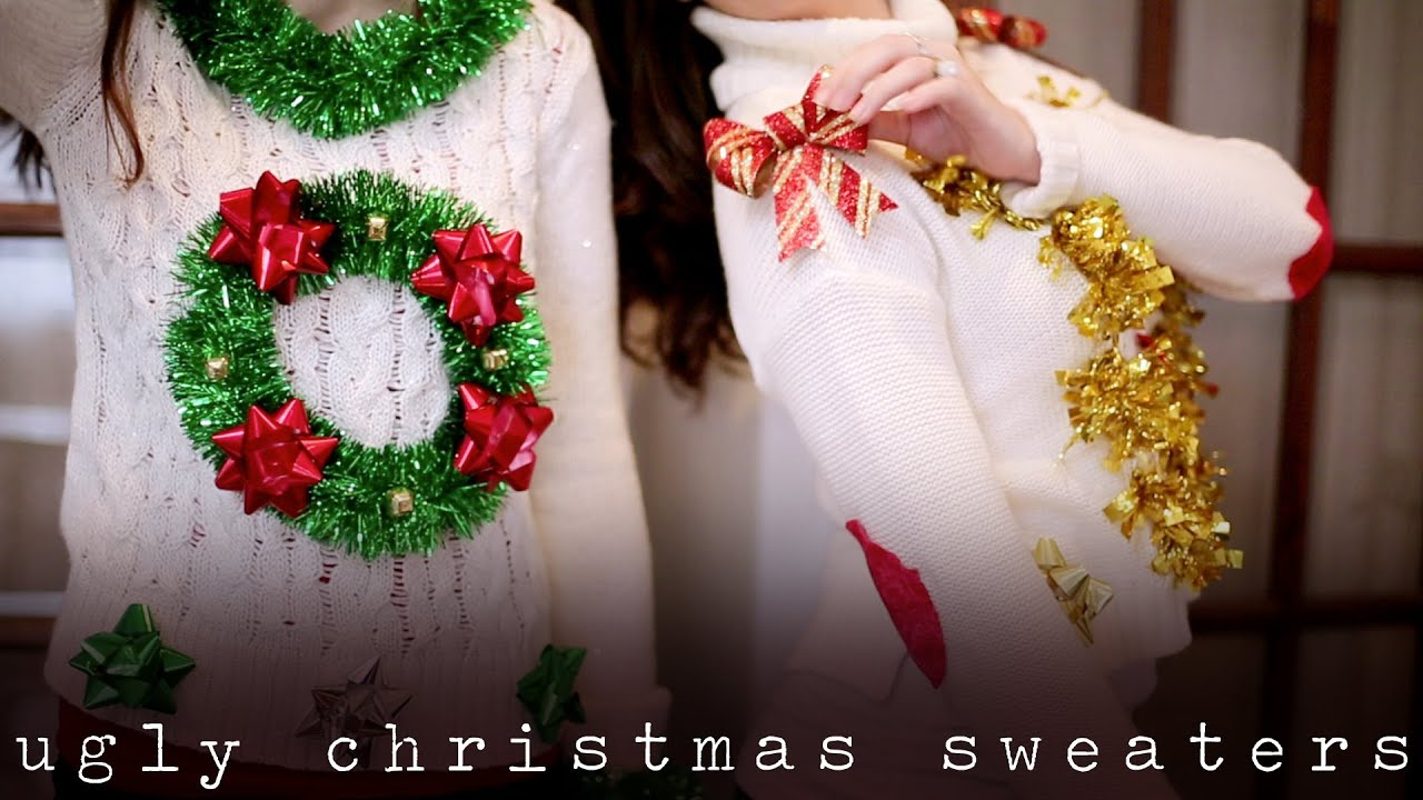 diy ugly tacky christmas holiday sweaters