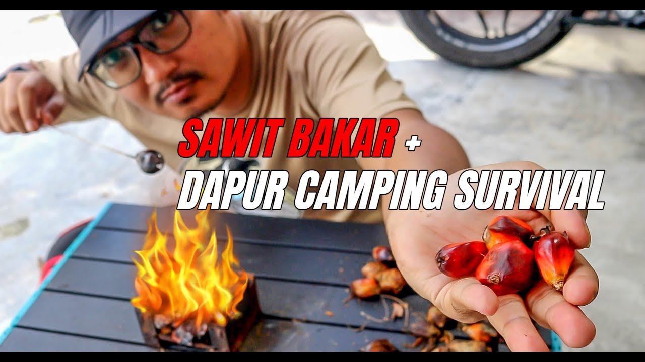 Dapur Camping Survival Dari Buah Sawit | SAWIT Bakar Boleh Makan Ke?? FOC Working From Home LOCKDOWN