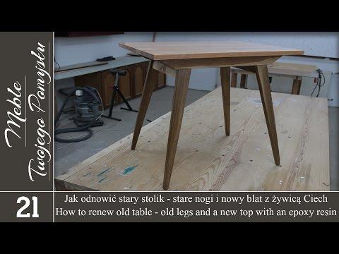 Jak odnowić stary stolik - stare nogi i nowy blat z żywicą Ciech / How to renew old table, top epoxy