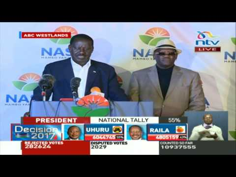 NASA presidential candidate Raila Odinga rejects IEBC results