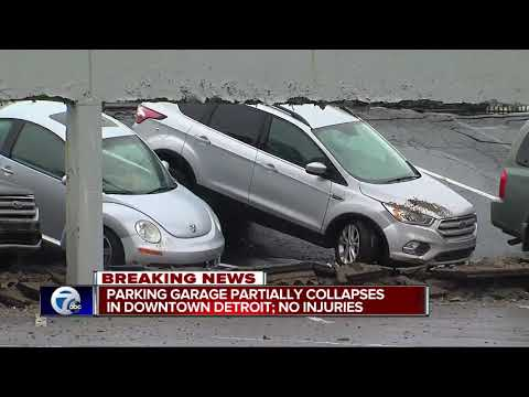 Top floor of parking deck partially collapses in downtown Detroit