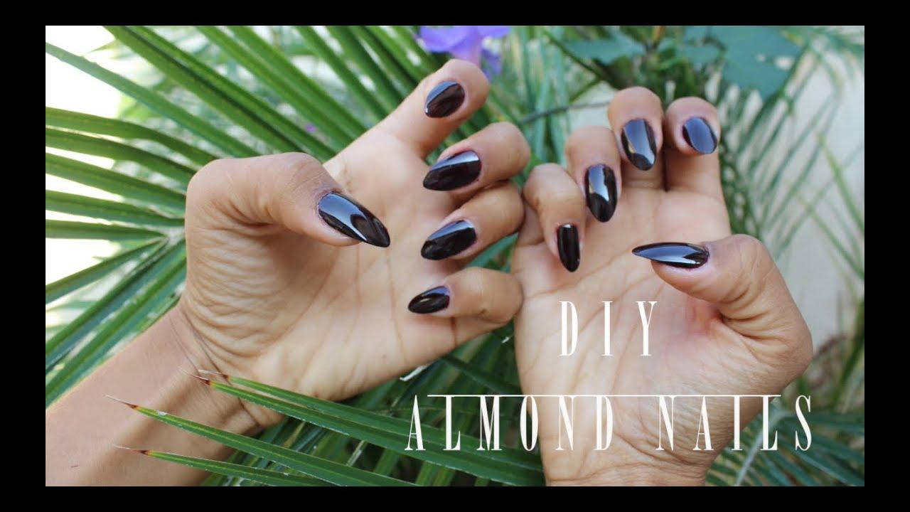 DIY Almond Nails (Non Acrylic) - YouTube