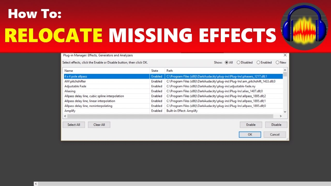 How To: Find GVerb, Hard Limiter & Other Missing Effects in Audacity