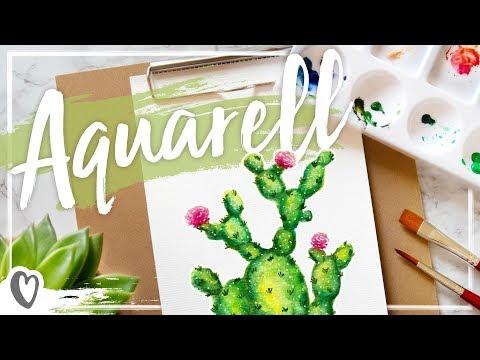 aquarell-–-kaktus-malen-mit-wasserfarbe-#nurwasichliebe