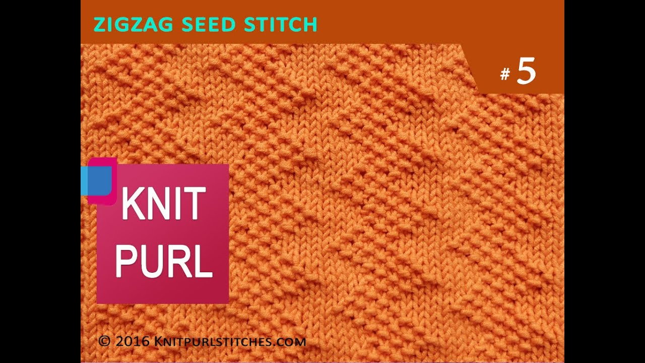 Knit Purl Stitches #5: ZIG ZAG SEED STITCH - YouTube