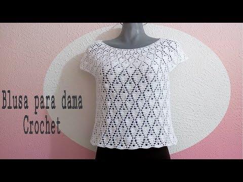 0fdb55d1d Blusa blanca para Dama en crochet - YouTube