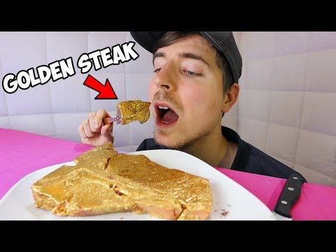 Eating A $10,000 Golden Steak (24k Gold)