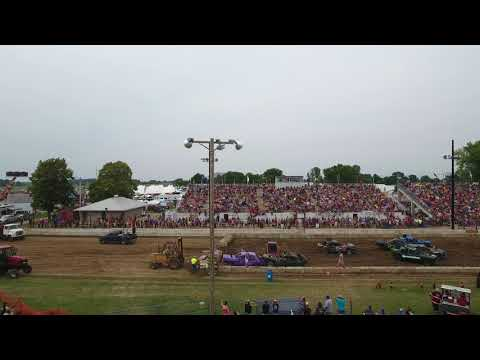 Demo Derby drone footage of full-size sedans at Dodge County Fair