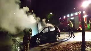 Vandalen steken auto in brand op de Helmkruid