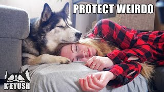 Trying To NAP With My HUSKY!  He Protects Me!