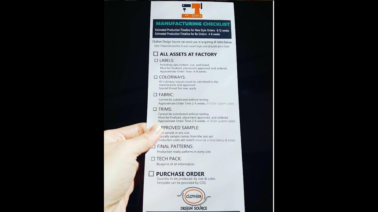 checklist for apparel manufacturing 20 minutes clothier design