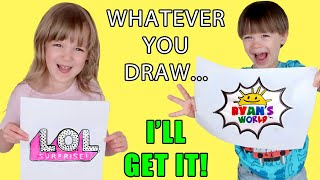 Whatever You Draw, I'll Buy Challenge! L.O.L. Surprise, Ryan's World, Toy Story 4 & Poopsie Toys!