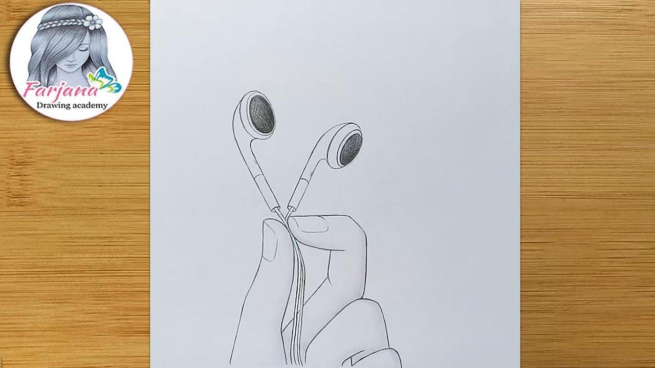Earphones in hand - Pencil sketch Tutorial  for beginners ||  How to draw Earphones in hand