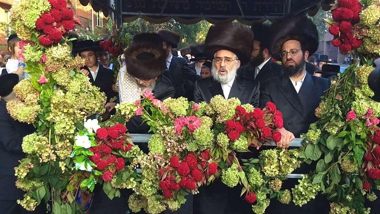Satmar Rebbe Walks In Hachnosas Sefer Torah Procession