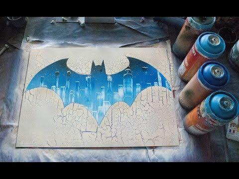 BATMAN LOGO (glow in the dark) - SPRAY PAINT ART tutorial by Ucuetis thumbnail