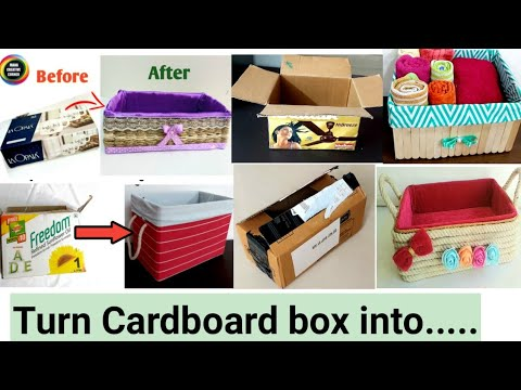 5 COOL CARDBOARD BOX REUSE IDEAS TO ORGANIZE YOUR HOME #5 COOL DIYs you can make with#cardboard box