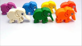 Play-Doh Elephant Special Molds -  Learn English Rainbow Colors