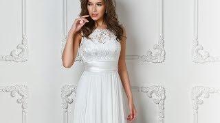 Белое вечернее платье с атласной юбкой