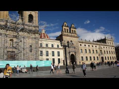 Bogota's central square on a sunny day