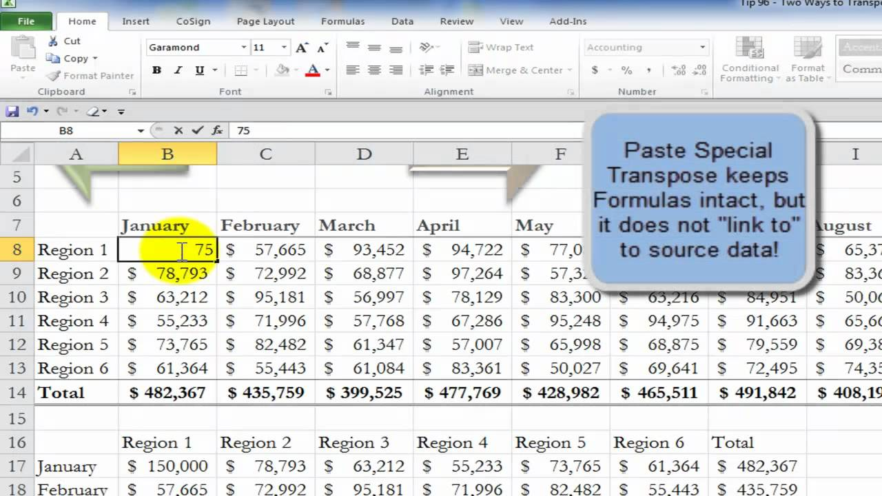 Two Ways to Transpose Excel Data - YouTube