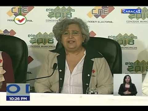 Rectora del CNE Tibisay Lucena da primer boletín de resultados de elecciones de concejales