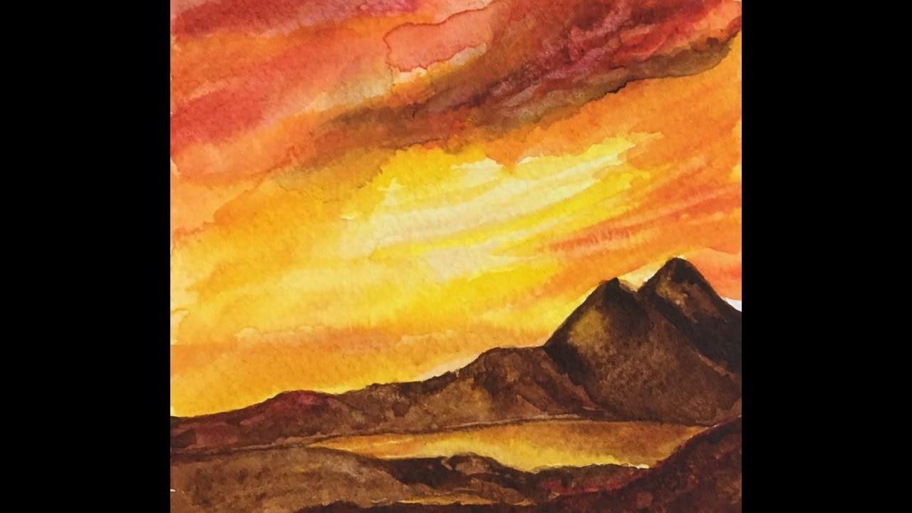 Sunset With Watercolors كيف ارسم غروب الشمس بالألوان المائية Youtube