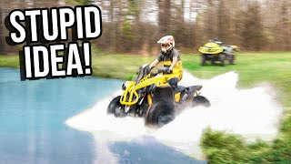 SKIMMING The POND On My FOUR WHEELER | 65MPH+