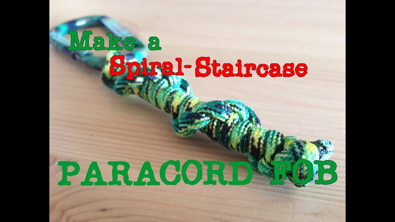 How to make a spiral staircase paracord keychain fob youtube for How to make a keychain out of paracord
