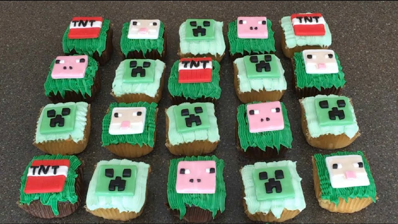 Minecraft Grass Block Cucpakes W Creeper Pig Tnt Sheep Toppers Fondant Youtube