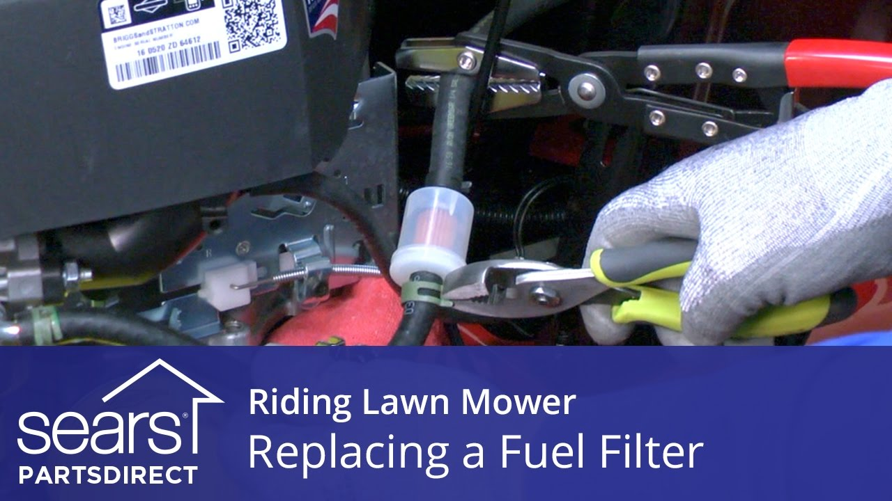 replacing a fuel filter on a riding lawn mower [ 1280 x 720 Pixel ]