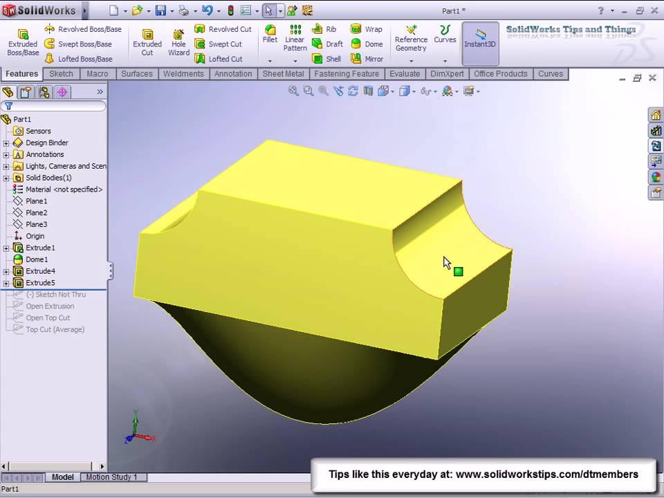 SolidWorks Open Profile Sketch Cut - YouTube